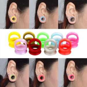 1-Pair-Silicone-Ear-Plug-Double-Flare-Saddle-Flesh-Tunnel-Stretcher-Gauge-6-25mm