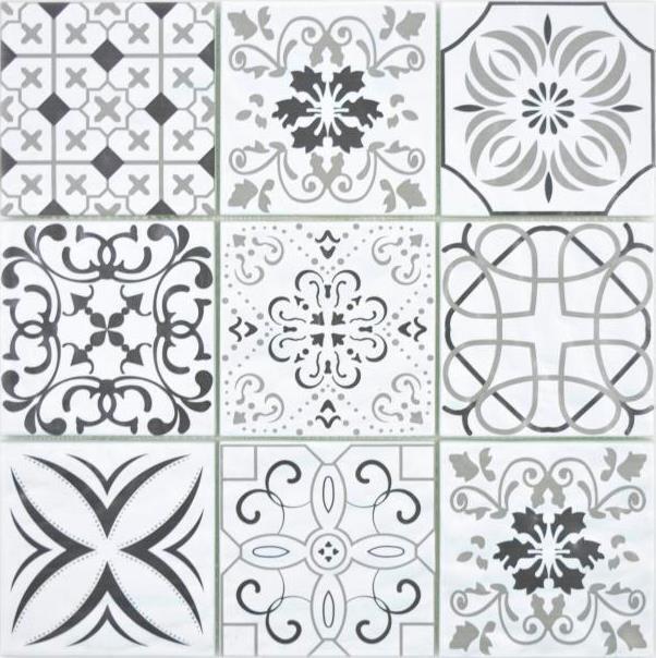Crystal Glasmosaik Retro schwarz weiß Wand Küche Theke Bad 160-0301_f 10Matten