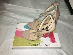FSJ Women's Shoes Beige, Open Toe, Ankle Straps, High Heels, Size 4