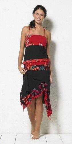 Coline USA  Red Hot Asymmetrical Ruffled Skirt