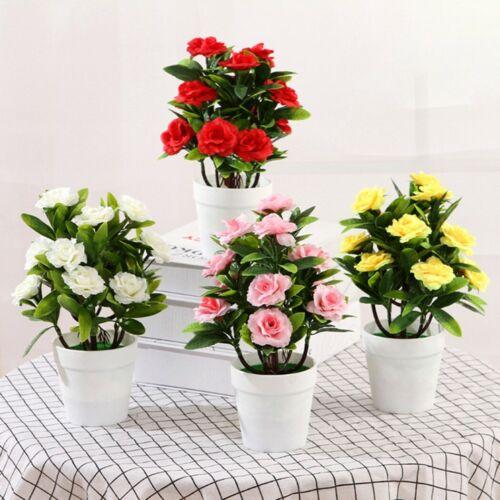Artificial Potted Plant Fake Rose Flower Bonsai-Pot Home Garden Wedding Decor