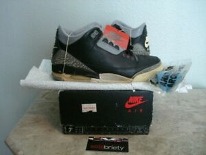 new concept ae2be 58376 Details about NIKE AIR JORDAN 3 III 1988 ORIGINAL 7.5 BLACK CEMENT FIRE RED  WHITE TRUE BLUE