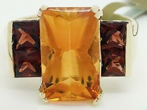 GENUINE-3-56-Carats-YELLOW-TOPAZ-amp-SPESSARTITE-RING-10k-GOLD-New-with-Tag