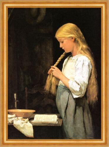 Mädchen die Haare flechtend Albert Anker 1887 Schweizer Maler H A3 0601 Gerahmt