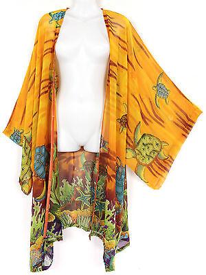 Sunset Yellow Turtle Sheer Chiffon Kimono Longer Duster Jacket Wrap Plus 5X 6X