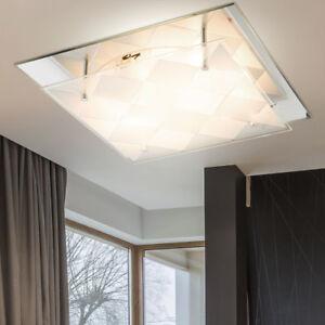 led decken lampe quadratisch chrom spiegel glas karo muster design leuchte licht ebay. Black Bedroom Furniture Sets. Home Design Ideas