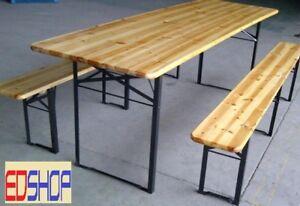 Distanza Panca Da Tavolo : Set tavolo birreria in legno 2 panche pieghevole per esterno