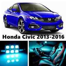 8pcs LED ICE Blue Light Interior Package Kit for Honda Civic 2013-2016
