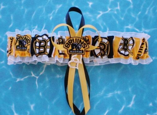 Boston Bruins Fabric Wedding Garter Toss Prom Hockey Double Heart Charm