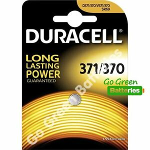 1 x Duracell 371 / 370 1.5V Silver Oxide watch battery D371/370 V371/370 SR69 5000394067820