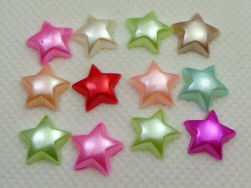 200 Mixed Color Acrylic Half Pearl Star Flatback Beads 10mm Bow Center No Hole