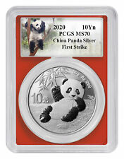 2020 China 30 g Silver Panda ¥10 Coin PCGS MS70 FS Custom Panda Label SKU59845