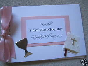 Girls First Holy Communion A5 Personalised Guest Memories Book