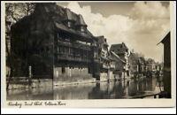 Bayern Nürnberg Postkarte 1934  Insel Schütt Partie am Goldenen Haus unglaufen
