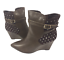 thumbnail 3 - Womens Ladies Coffee Faux Leather High Wedge Heel Shoes Ankle Boots Size 8 New