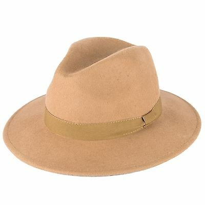 100% Wool Fedora Hat with Grosgrain Band Handmade in Italy