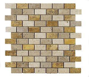 Sample Of Light Amp Walnut Amp Gold Mixed Brick Travertine
