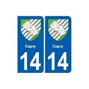 14 Cagny Blason Ville Autocollant Plaque Sticker
