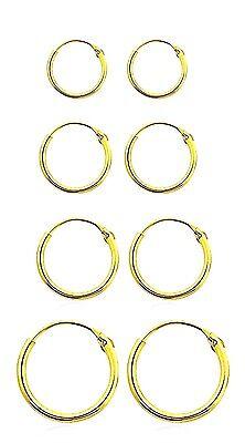 925 GOLD PLATED STERLING SILVER SMALL HINGED HOOP SLEEPER EARRINGS 6/8/10/12mm