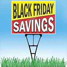 "18""x24"" BLACK FRIDAY SAVINGS Outdoor Yard Sign & Stake Sidewalk Lawn Sales"