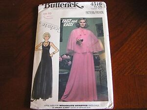 Vintage-1970s-Butterick-4516-Evening-Dress-Cape-Size-10-Sewing-Pattern-NEW-UNCUT