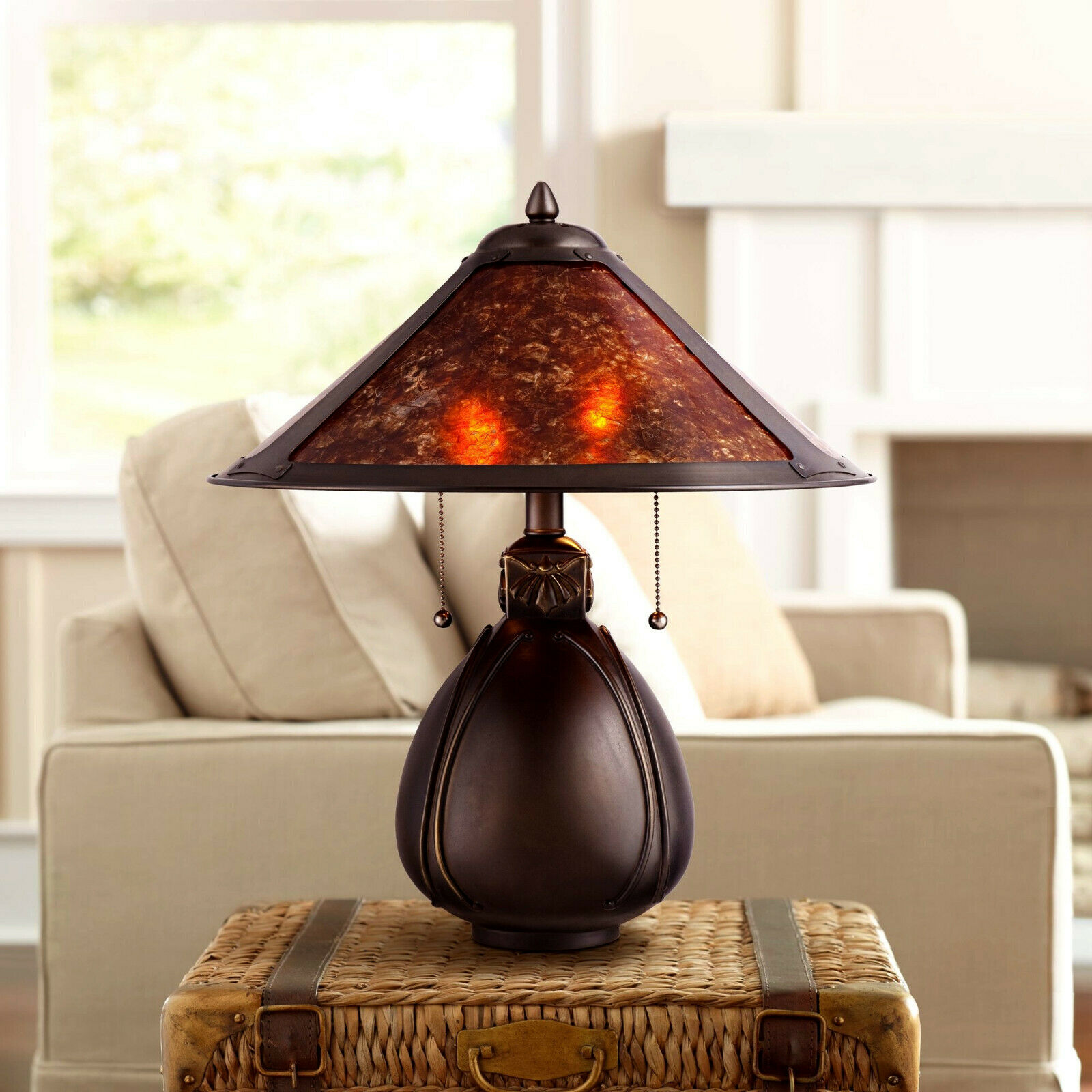 Mission Craftsman Mica and Bronze Table Lamp - New