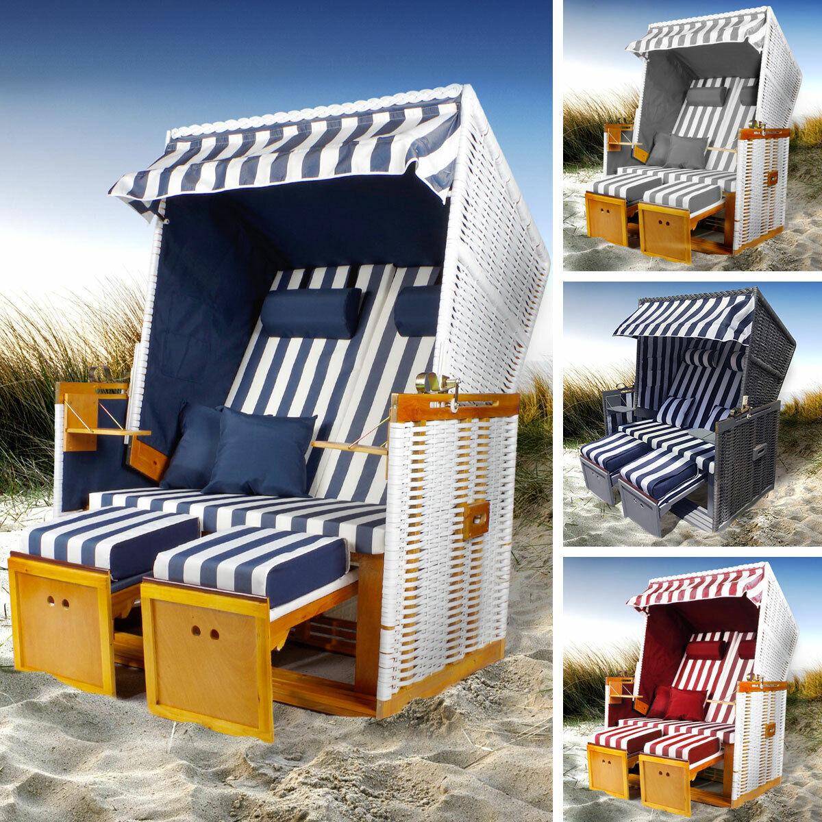 Strandkorb Norderney Volllieger Gartenliege Sonneninsel Poly-Rattan XXL