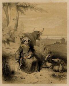 Theodore-Valerio-Bretagne-Enfantina-Costume-Guerande-Lithographie-originale-XIXe