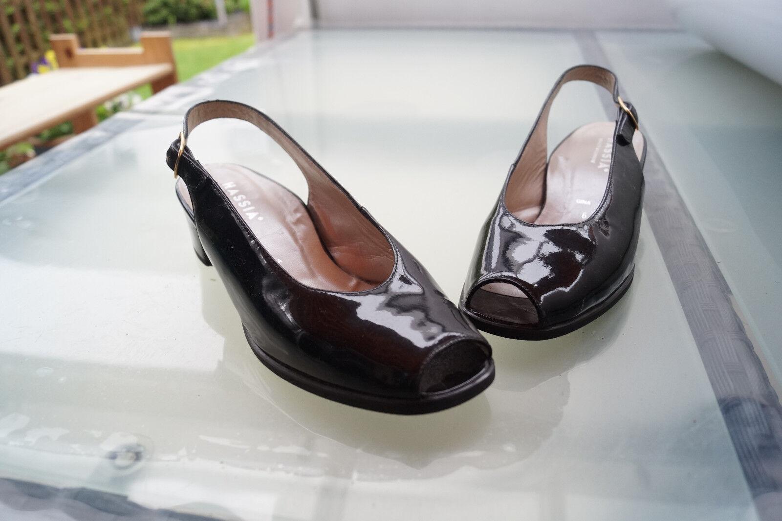 HASSIA Gina Damen Sommer Schuhe Sandalen leder Pumps Gr.6/ 39 lack leder Sandalen schwarz #80 bb58b0