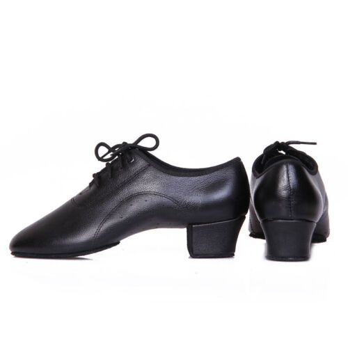 Men/'s Black Genuine Leather Latin Dance Shoes Soft Outsole Ballroom Dancing Shoe