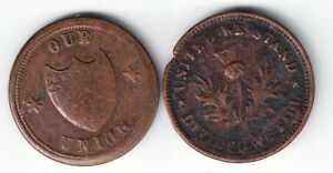 2-X-CIVIL-WAR-TOKENS-UNITED-WE-STAND-DIVIDED-WE-FALL-HART-039-S-ARCADE-amp-OUR-UNION