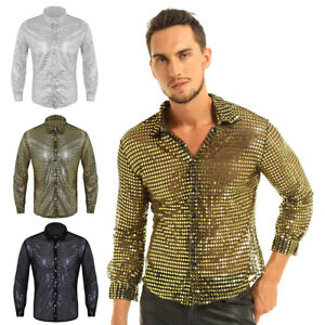 Mens Shiny Sequins Dance Shirt Long Sleeve 70's Disco Party Ctop Tops Costume