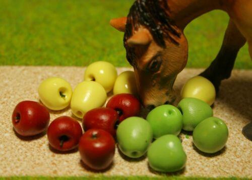 Äpfel  Futter  Pferdefutter Miniatur Zubehör passend  für Schleich  Pferde Pferd
