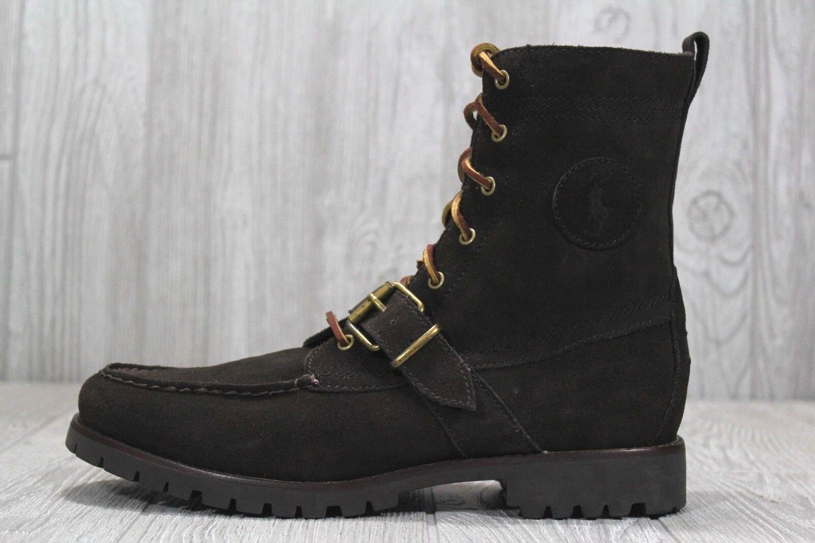 36 Polo Ralph Lauren Ranger Suede Strap Military Boots Brown Men's Sz 9.5 11 14