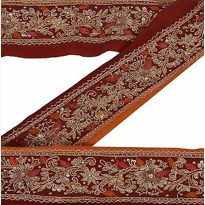 Vintage Sari Border Antique Hand Beaded 1 YD Indian Trim Sewing Maroon Deco Lace