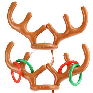a97e4594e6802 Inflatable Reindeer Antler Hat Ring Toss Game Toys Christmas Party ...