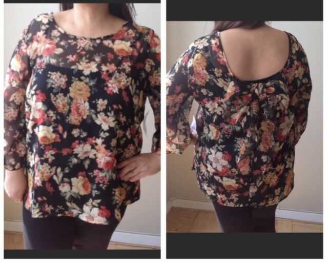 Nolita Womens  Plus Sz Floral Blouse Bow On Back Sz 2X Polyester