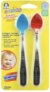 Gerber Graduates 5-Pack Baby Toddler Rest Easy Spoons; Blue Green /& Red