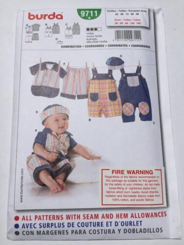 Burda Sewing Pattern 9711 Infant Baby CoOrdinates Top Pants Size 3M-18M Uncut