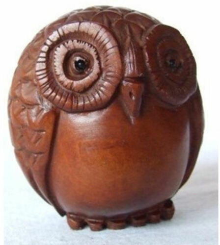 Refined Wooden Boxwood Netsuke cute owl figurine