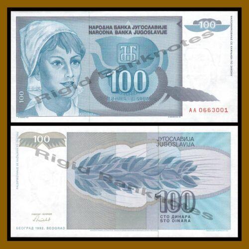 Yugoslavia 100 Dinara X 100 Pcs Bundle 1992 P-112 Unc