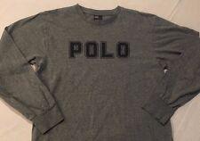Vtg POLO RALPH LAUREN Long Sleeve Shirt Spell out BIG LOGO Youth XL Men's Small
