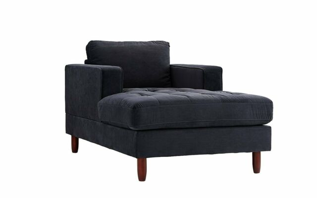 Fine Contemporary Home Furniture Chaise Lounge Modern Tufted Velvet Sofa In Black Customarchery Wood Chair Design Ideas Customarcherynet