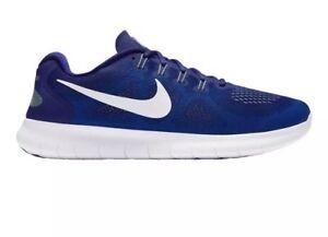 nouveau produit 539db 75b41 Détails sur HOMME Nike Free Rn 2017 Chaussures Royale Profonde Bleu Blanche  Survol 880839