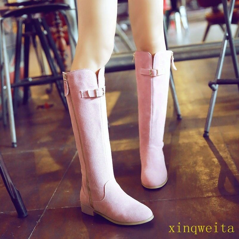 Womens Girls Suede Flats Knee High Boots Buckle Zip Knight shoes Fashion new hot