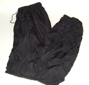 80s-nylon-Pants-CATALINA-Women-039-s-XL-Black-Lined-Ankle-Zip-Vtg-Unisex-Athletic
