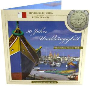Malta-2014-KMS-1-Cent-bis-2-Euro-50-Jahre-Unabhaengigkeit-Sondersatz-im-Folder