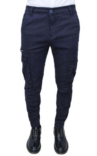 scuro casual Pantaloni blu Cargo scuro da uomo Jeans Fit cotone Slim Blu Diamond 7xnS7Ap4
