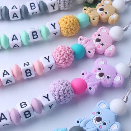 Baby Anti-Schnuller Koala Cartoon Gummi Kette Biss kauen Schnullerkette Neu