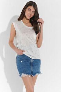Vestino Damen Shirt Beach Stern-Muster leicht transparent Brusttasche Rundhals